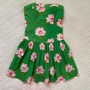 Strapless Green Pink Floral Dress Pockets